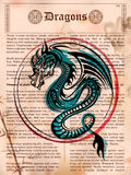Furious Dragon drawing on old vintage book page royalty free illustration