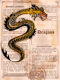 Furious Dragon drawing on old vintage book page stock illustration