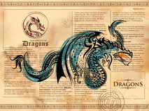 Furious Dragon drawing on old vintage book page Royalty Free Stock Photo