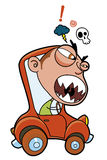 Furious driver. Vector Furious driver in a little car Royalty Free Illustration