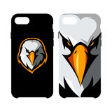 Furious eagle head athletic club vector logo concept isolated on smart phone case. Royalty Free Stock Images