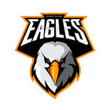 Furious eagle head athletic club vector logo concept isolated on white background. Royalty Free Stock Photo