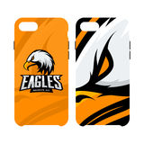 Furious eagle sport vector logo concept smart phone case isolated on white background. Royalty Free Stock Photography
