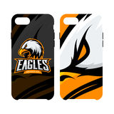 Furious eagle sport vector logo concept smart phone case isolated on white background Royalty Free Stock Photo