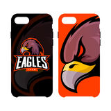 Furious eagle sport vector logo concept smart phone case isolated on white background Stock Photo