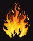 Furious fire. Burning vector fire on black background Royalty Free Stock Image