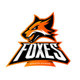 Furious fox sport club vector logo concept isolated on white background. Modern professional team badge mascot design. Premium quality wild animal athletic stock illustration