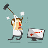 Furious frustrated businessman hitting the computer. Vector, Illustration, Cartoon character royalty free illustration