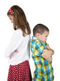 Furious girl and boy. With white background Stock Image