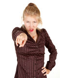 Furious girl pointing you Royalty Free Stock Images