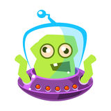 Furious green alien, cute cartoon monster. Colorful vector Illustration. Furious green alien, cute cartoon monster. Colorful vector character isolated on a white Royalty Free Stock Image