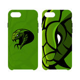 Furious green snake head sport vector logo concept smart phone case isolated on white background. Royalty Free Stock Photos