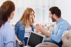 Furious handsome man shouting at his wife Stock Photography