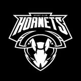 Furious hornet head athletic club vector logo concept on black background. Modern sport team mascot badge design. Premium quality wild insect emblem t-shirt royalty free illustration