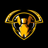 Furious hornet head athletic club vector logo concept isolated on black background. Modern sport team mascot badge design. Premium quality wild insect emblem t vector illustration