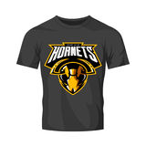 Furious hornet head athletic club vector logo concept isolated on black t-shirt mockup. 