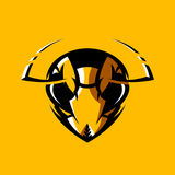 Furious hornet head athletic club vector logo concept isolated on orange background. Modern sport team mascot badge design. Premium quality wild insect emblem royalty free illustration