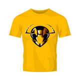 Furious hornet head athletic club vector logo concept isolated on orange t-shirt mockup. 