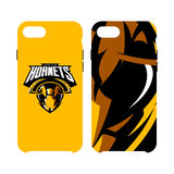 Furious hornet head athletic club vector logo concept isolated on smart phone case. 