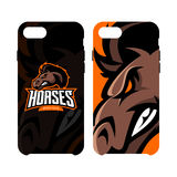 Furious horse sport club vector logo concept smart phone case isolated on white background. Stock Photography