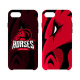 Furious horse sport club vector logo concept smart phone case isolated on white background. Royalty Free Stock Photography