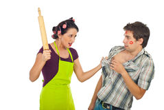 Furious housewife with unfaithful husband Stock Photos