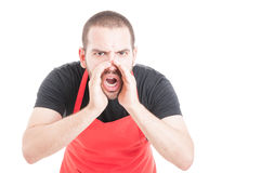 Furious hypermarket seller shouting out loud Royalty Free Stock Image