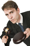 Furious judge on white Royalty Free Stock Photography