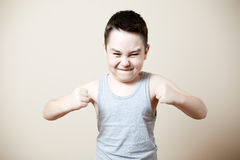 Furious kid. With emotion on face royalty free stock images