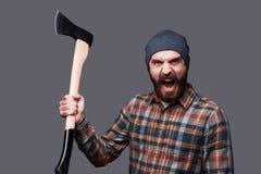 Furious lumberjack. stock photo