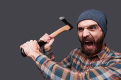 Furious lumberjack. Stock Image