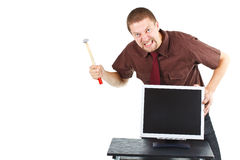 Furious man destroying monitor Royalty Free Stock Photos