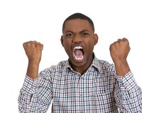 Furious man with fists in the air Royalty Free Stock Photos