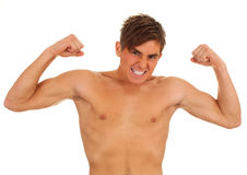 Furious man with raised arms Stock Photo