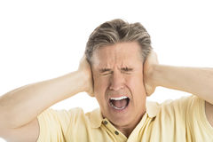 Furious Man Screaming While Covering His Ears. Close-up of furious mature man screaming while covering his ears against white background Stock Photos