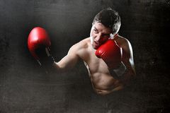 Furious man training boxing on gym with red fighting gloves throwing vicious punch Royalty Free Stock Photos