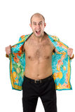 Furious man in unbuttoned shirt shouting. With anger isolated Royalty Free Stock Photography