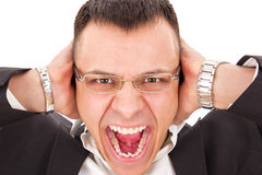 Furious man yelling Royalty Free Stock Image