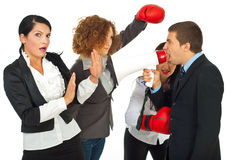 Furious manager man and employees Royalty Free Stock Photography