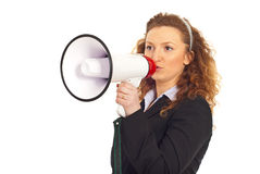 Furious manager shouting into megaphone Royalty Free Stock Photos