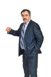 Furious mature manager. Showing his fist isolated on white background Stock Images