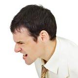 Furious men shouting on white. Furious man shouting isolated on white background Royalty Free Stock Photo
