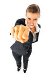 Furious modern business woman punching Stock Photo