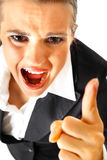 Furious modern business woman shaking her finger Royalty Free Stock Photo