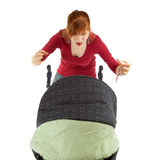 Furious mother and baby  buggy Stock Image