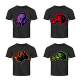 Furious octopus, bear, alligator and horse head sport vector logo concept set isolated on black t-shirt mockup. Stock Images