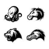 Furious octopus, bear, alligator and horse head sport vector logo concept set isolated on white background. Stock Images