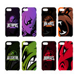 Furious octopus, bear, alligator and horse sport vector logo concept smart phone case Royalty Free Stock Photo