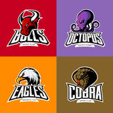 Furious octopus, eagle, cobra, bull head isolated vector sport logo concept set. Royalty Free Stock Photos