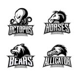 Furious octopus, horse, bear and alligator sport vector logo concept set isolated on white background. Modern team badge design. Premium quality wild animal Royalty Free Stock Photography